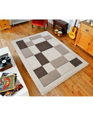 Beige Brown Sassui Rug Carpets Geometric Square Design Runner Floor Mat