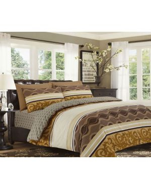 Sopron Complete Cotton Bedding Set Printed Design in Brown beige