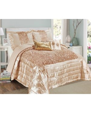 Balathy Beige Grey fully sequence bedspread with pillow shams