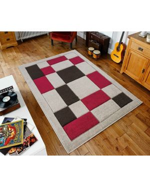 Beige Red Sassui Rug Carpets Geometric Square Design Runner Floor Mat
