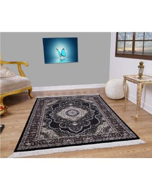 Vintage Traditional Style indus Black Grey Rug carpet