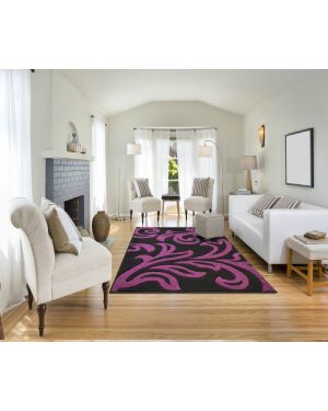 Devo Mat Luxury Area Black Purple Anti Skid Fungal Floral Carpet