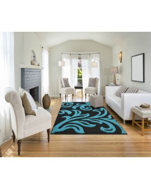 Devo Mat Luxury Area Black Teal Anti Skid Fungal Floral Carpet