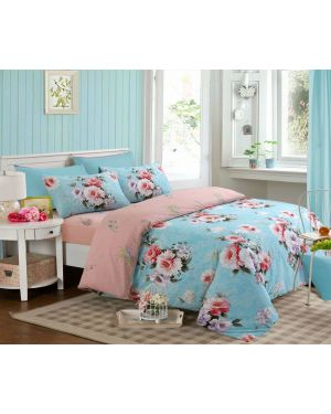 Sopron Complete Cotton Bedding Set Printed Design in Light Sky