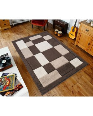 Sassui Rug Carpets Geometric Square Design Runner Floor Mat in Brown Beige