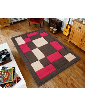 Brown Red Sassui Rug Carpets Geometric Square Design Runner Floor Mat