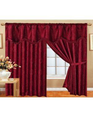 Burgundy Benjo Glitter curtains pair pencil pleat ready made with pelmet and tieback