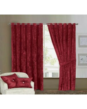 Prado Curtains Pair Ring Top Heavy Crushed Velvet Burgundy and Fully Lined