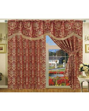 Foster Burgundy Jacquard curtains pair with pelmet and tiebacks pencil pleat