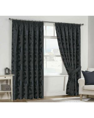 Lisa Pencil Pleat Charcoal Ready Made Fully Lined Curtains With TieBack