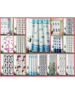 Waterproof Polyester Bathroom Shower Shower Curtain Printed Fabric With 12 Hooks