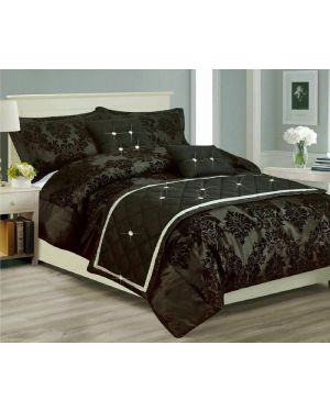 Kambar Damask Printed Black Duvet Cover Bedding Set and Pillowcase