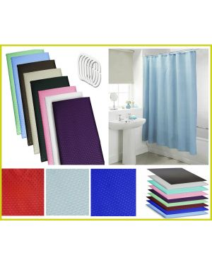 Waterproof Polyester Fabric Bathroom Shower Curtain With Ring Hooks 180 x 180 CM