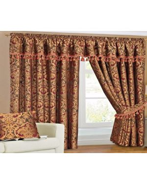 Sandria Curtains Pair Burgundy Ready Made heavy Jacquard Pencil Pleat