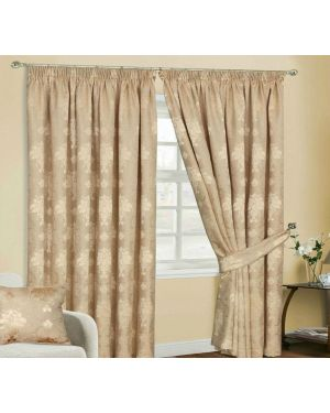 Empire Jacquard Gold Pencil Pleat Curtain With Tiebacks