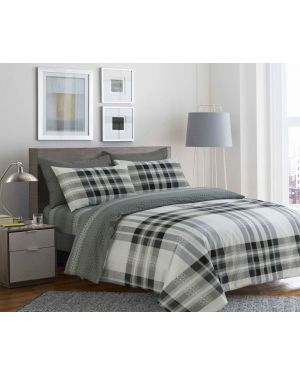 Sopron Complete Cotton Bedding Set Printed Design Light Grey