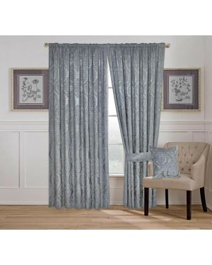 Amber Jacquard Tape Top Pencil Pleat Window Grey Curtains/Cushion Cover