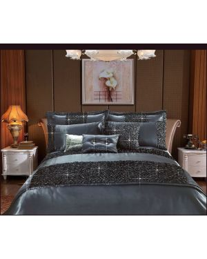 Revolvo 3 piece sequin duvet cover set in Grey
