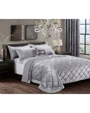 Caconda Grey Silver Crushed velvet bedspread with pillow shams