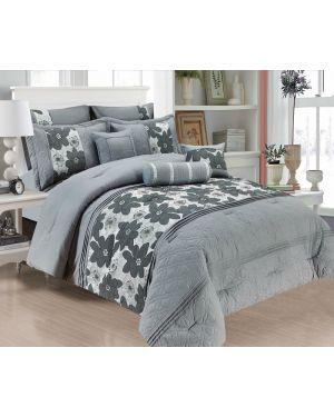 Skagen Bedspread Comforter Grey Silver 7 Pcs jacquard bedding set