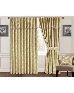 Glitter Jacquard Gold Curtain Pair Fully Lined Ready Made Pencil Pleat Tieback Pelmet