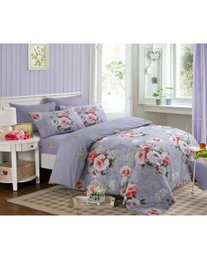 Sopron Complete Cotton Bedding Set Printed Design in Purple Colour