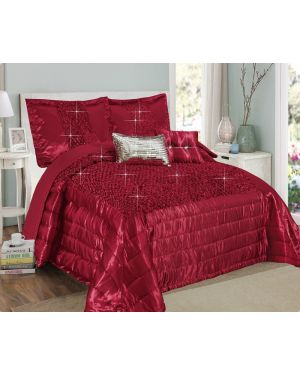 Balathy Red Grey fully sequence bedspread with pillow shams