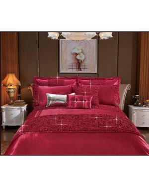 Revolvo Red 3 piece sequin duvet cover set