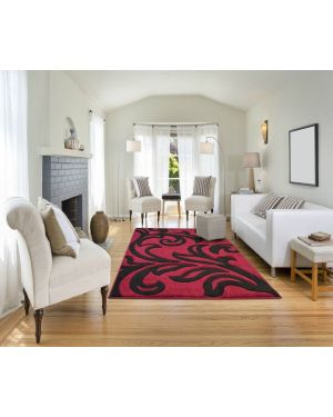 Devo Mat Luxury Area Red Black Anti Skid Fungal Floral Carpet