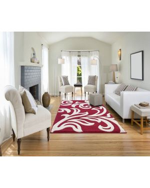 Devo Mat Luxury Area Red Cream Anti Skid Fungal Floral Carpet