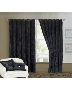 Prado Curtains Pair Ring Top Heavy Crushed Velvet Black and Fully Lined