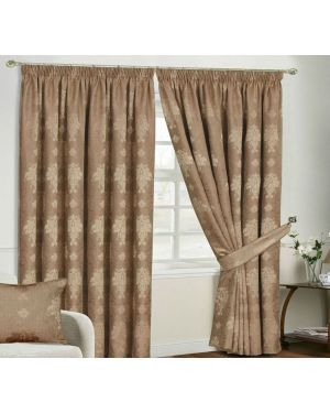 Empire Jacquard Coffee Pencil Pleat Beige Curtain With Tiebacks