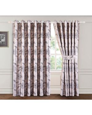 Silver Grey Bloom ring top eyelet curtains ready made with free tieback