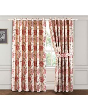 Red Rose Bloom ring top eyelet curtains ready made with free tieback