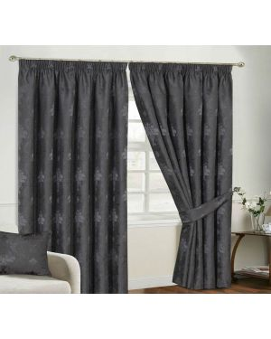 Empire jacquard  Silver Pencil Pleat Curtain With Free Tiebacks