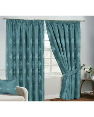 Empire Jacquard Pencil Pleat Curtain With Free Tiebacks Teal