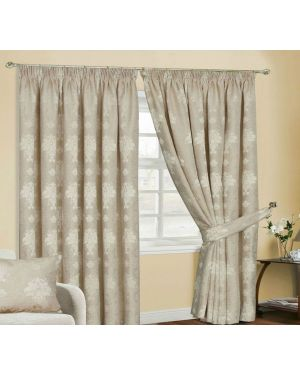 Empire jacquard pencil pleat beige curtains with tiebacks