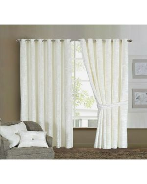 Prado Curtains Pair Ring Top Heavy Crushed Velvet White and Fully Lined