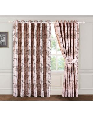 Coffee Brown Bloom ring top eyelet curtains ready made with free tieback