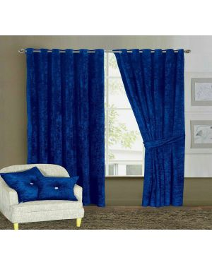 Blue Prado Curtains Pair Ring Top Heavy Crushed Velvet and Fully Lined