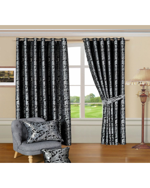 Revola Black jacquard Heavy curtains eyelet with pair tiebacks