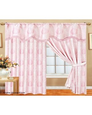 Rose Pink Benjo Glitter curtains pair pencil pleat ready made with pelmet and tieback