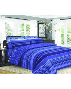Sopron cotton complete bedding set printed design Royal blue
