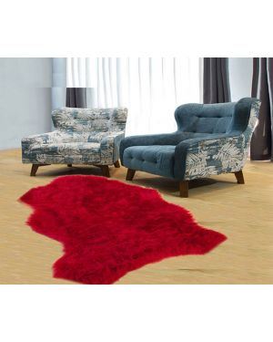 Anna sheep skin rug 100% Polyester Faux Fur Soft Door Mat in red Colour
