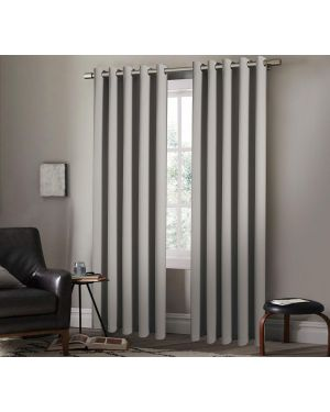 Ring Top Eyelet Room Blackout Curtain Panels Heavy Insulated Thermal Arlesa Silver Curtains