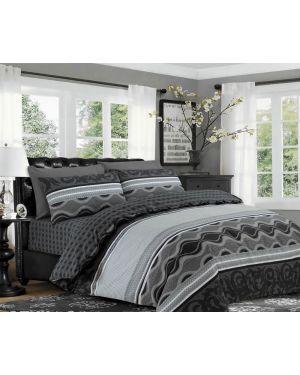 Sopron Complete Cotton Bedding Set Printed Design in Black Grey
