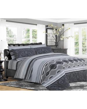 Sopron cotton complete bedding set printed design Black sliver