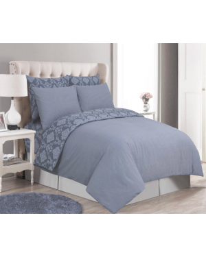Sopron cotton complete bedding set printed design Silver Grey