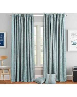 Luxury Pencil Pleat Heavy Jacquard Teal Curtain Pair Ready Made Fully Lined with Tiebacks