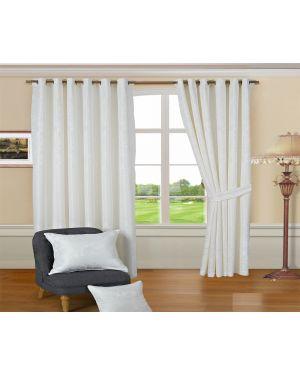 Revola white jacquard Heavy curtains eyelet with pair tiebacks